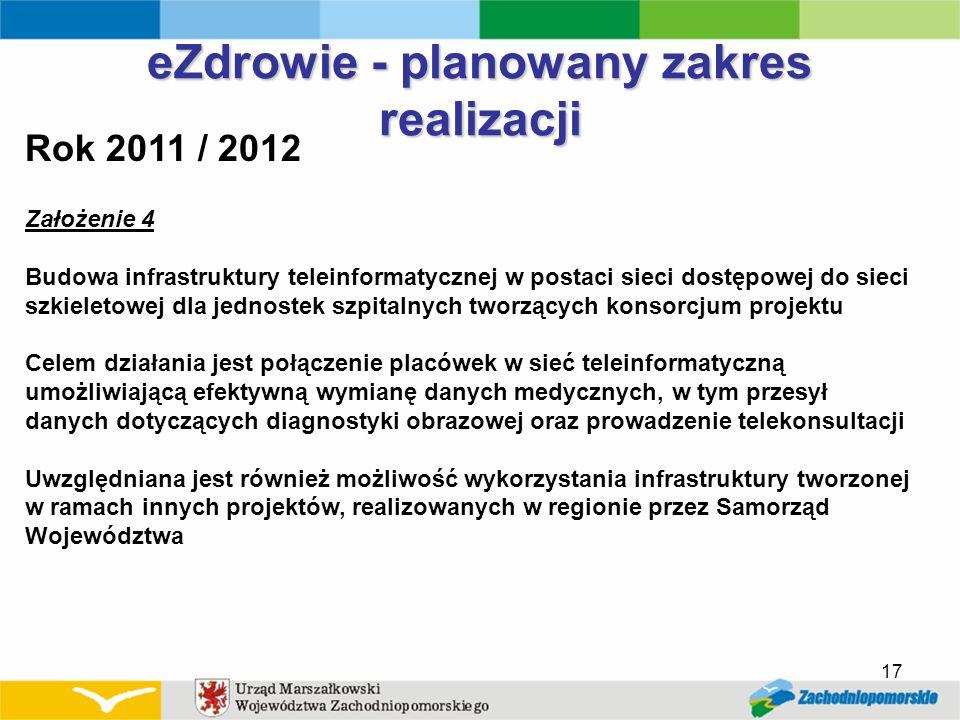 17 eZdrowie - planowany zakres realizacji Rok 2011 / 2012 Założenie 4 Budowa infrastruktury teleinformatycznej w postaci sieci dostępowej do sieci szk