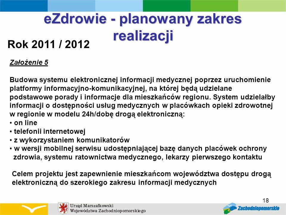 18 eZdrowie - planowany zakres realizacji Rok 2011 / 2012 Założenie 5 Budowa systemu elektronicznej informacji medycznej poprzez uruchomienie platform