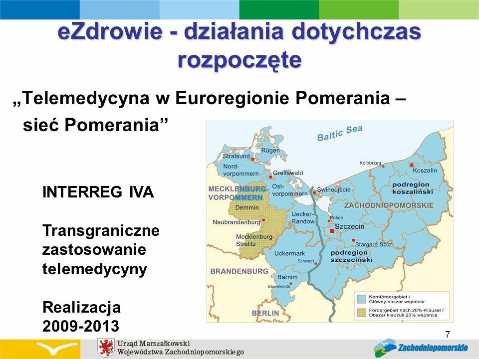 eZdrowie - działania dotychczas rozpoczęte Telemedycyna w Euroregionie Pomerania – sieć Pomerania 7 INTERREG IVA Transgraniczne zastosowanie telemedyc