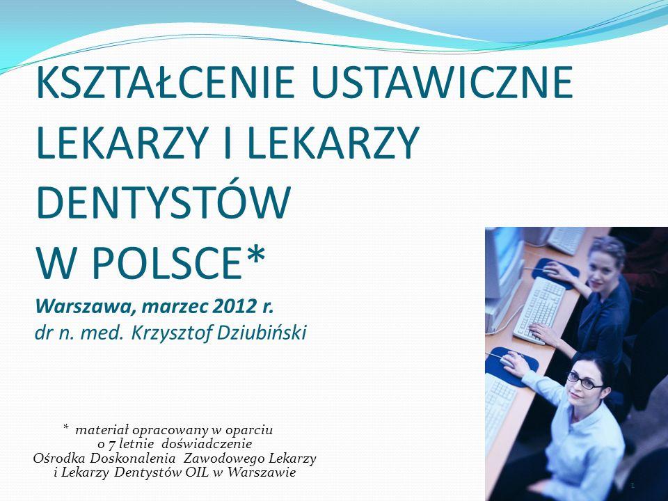 KSZTAŁCENIE USTAWICZNE LEKARZY I LEKARZY DENTYSTÓW W POLSCE* Warszawa, marzec 2012 r. dr n. med. Krzysztof Dziubiński * materiał opracowany w oparciu