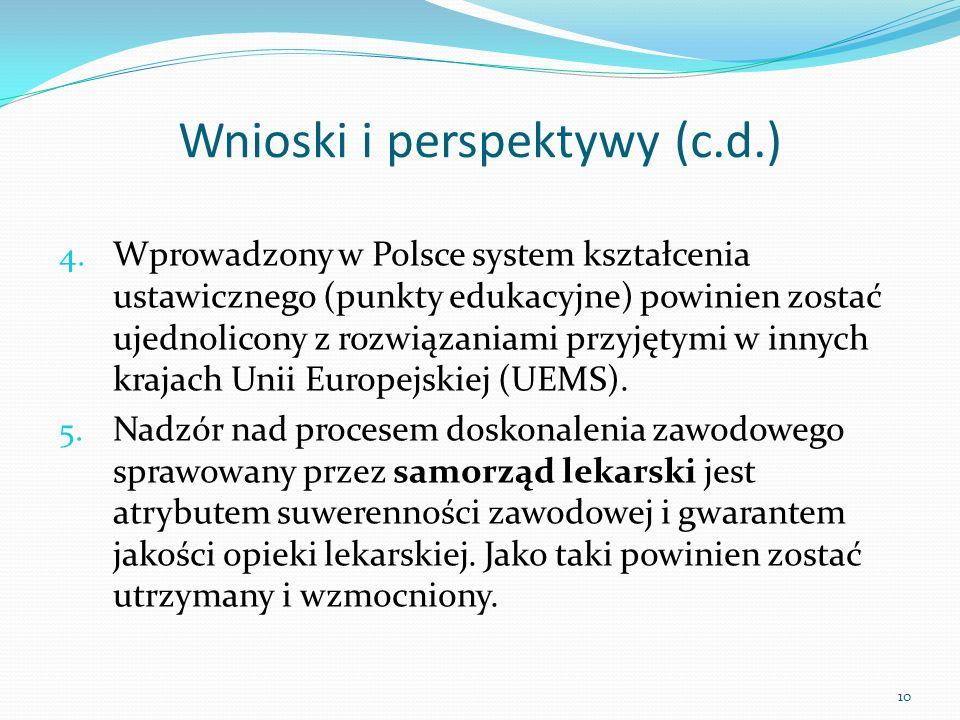 Wnioski i perspektywy (c.d.) 4. Wprowadzony w Polsce system kształcenia ustawicznego (punkty edukacyjne) powinien zostać ujednolicony z rozwiązaniami