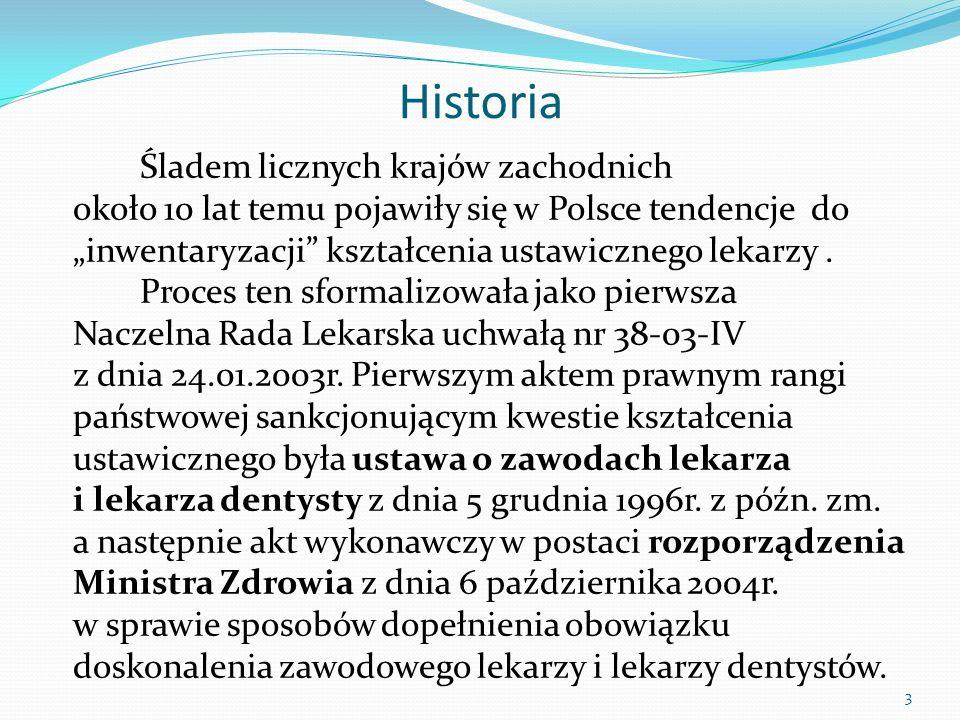 Historia Śladem licznych krajów zachodnich około 10 lat temu pojawiły się w Polsce tendencje do inwentaryzacji kształcenia ustawicznego lekarzy. Proce