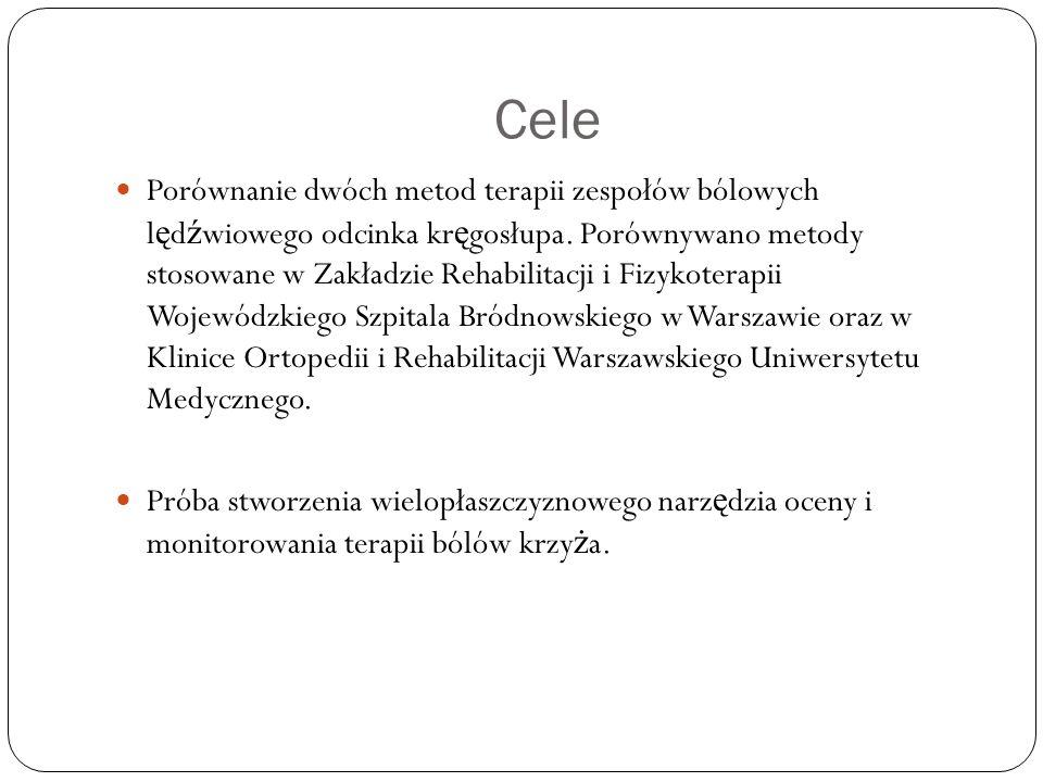 Cele Porównanie dwóch metod terapii zespołów bólowych l ę d ź wiowego odcinka kr ę gosłupa. Porównywano metody stosowane w Zakładzie Rehabilitacji i F