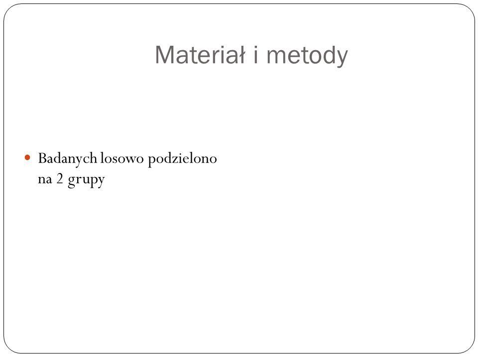 Materiał i metody Badanych losowo podzielono na 2 grupy