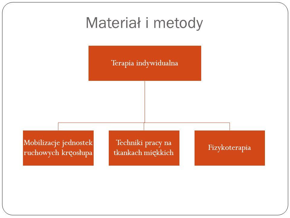 Materiał i metody Terapia indywidualna Mobilizacje jednostek ruchowych kr ę osłupa Techniki pracy na tkankach mi ę kkich Fizykoterapia