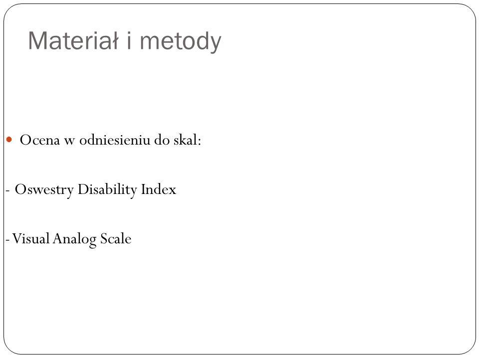 Materiał i metody Ocena w odniesieniu do skal: - Oswestry Disability Index - Visual Analog Scale