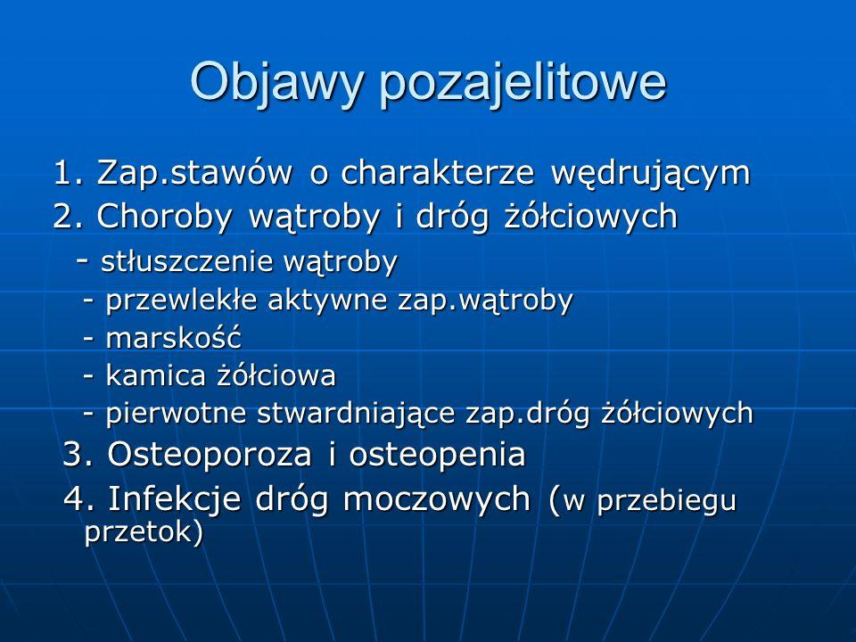 Objawy pozajelitowe 1.Zap.stawów o charakterze wędrującym 2.