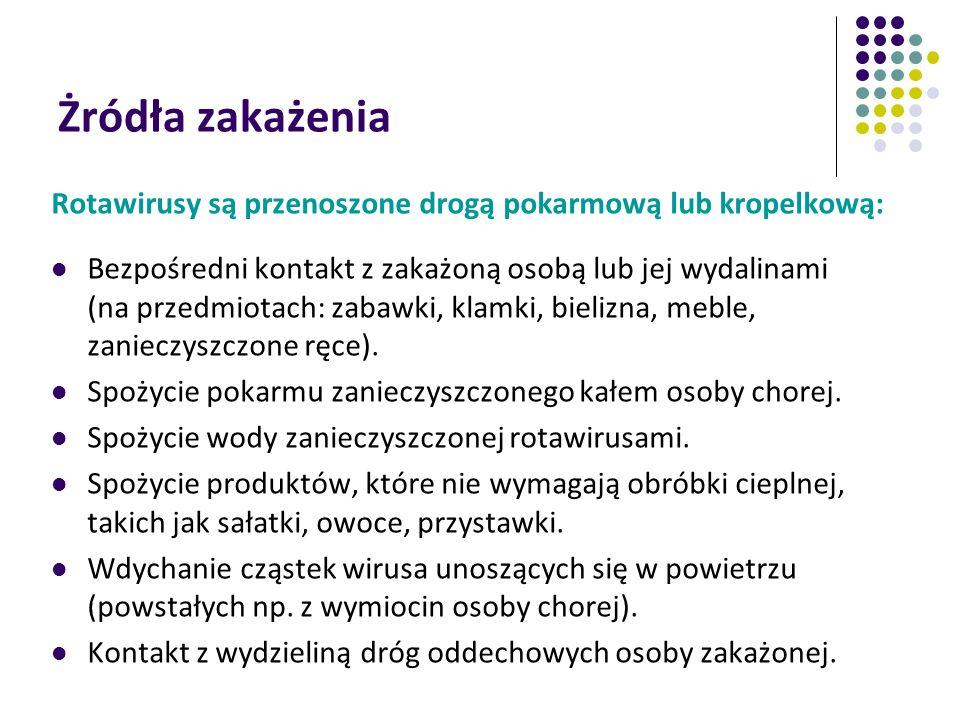 Żródła zakażenia Rotawirusy są przenoszone drogą pokarmową lub kropelkową: Bezpośredni kontakt z zakażoną osobą lub jej wydalinami (na przedmiotach: z