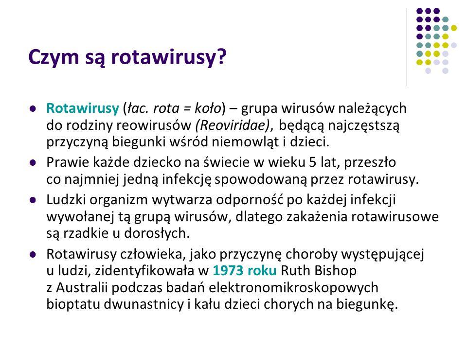 Czym są rotawirusy? Rotawirusy (łac. rota = koło) – grupa wirusów należących do rodziny reowirusów (Reoviridae), będącą najczęstszą przyczyną biegunki