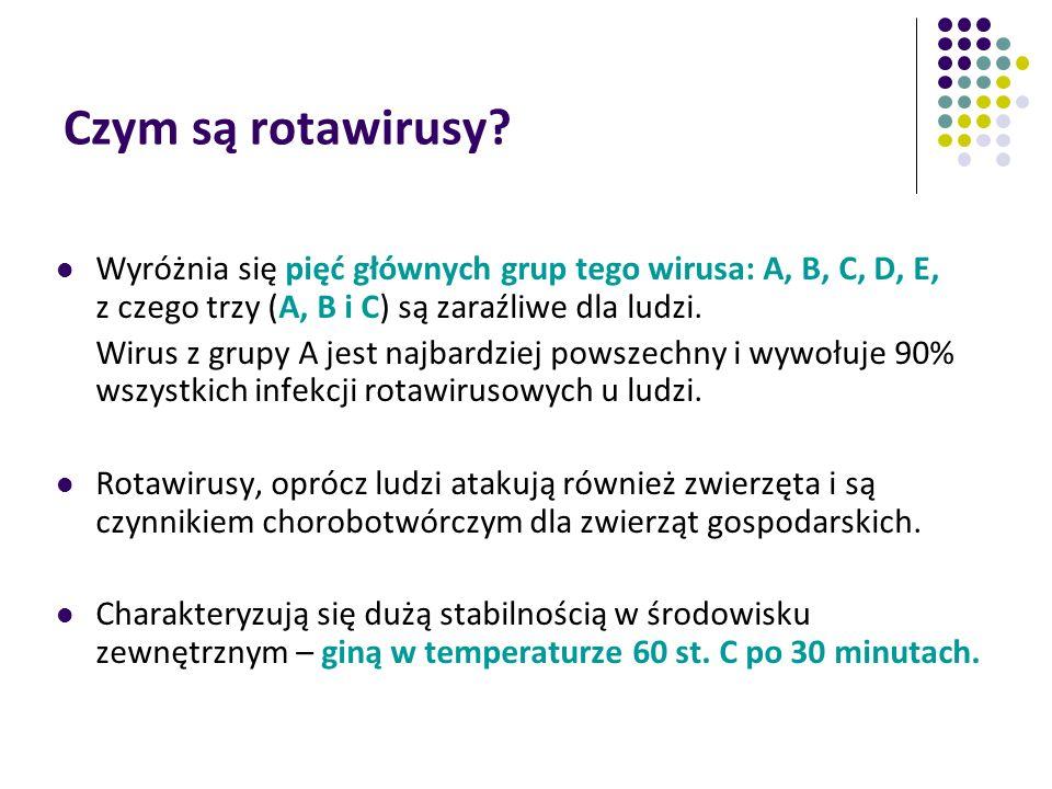 Czym są rotawirusy? Wyróżnia się pięć głównych grup tego wirusa: A, B, C, D, E, z czego trzy (A, B i C) są zaraźliwe dla ludzi. Wirus z grupy A jest n