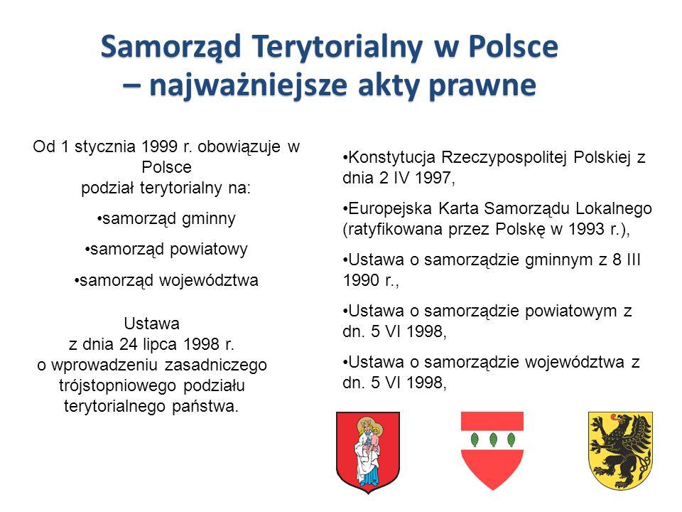 Konstytucja Rzeczypospolitej Polskiej z dnia 2 IV 1997, Europejska Karta Samorządu Lokalnego (ratyfikowana przez Polskę w 1993 r.), Ustawa o samorządz