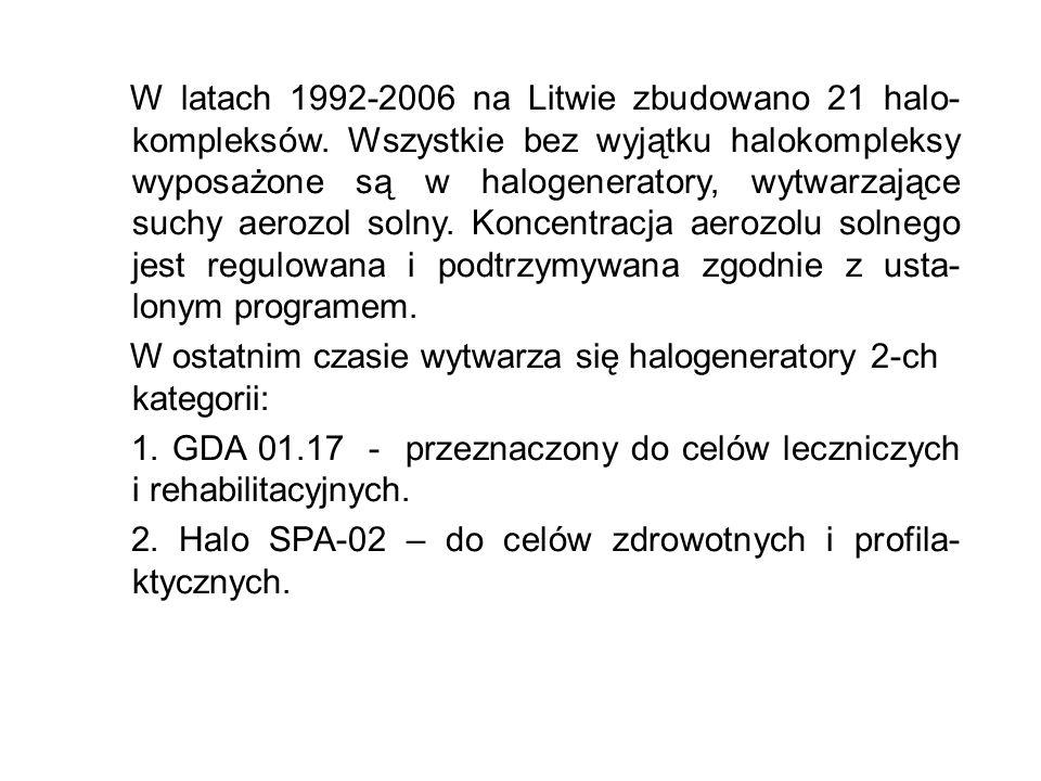 W latach 1992-2006 na Litwie zbudowano 21 halo- kompleksów. Wszystkie bez wyjątku halokompleksy wyposażone są w halogeneratory, wytwarzające suchy aer