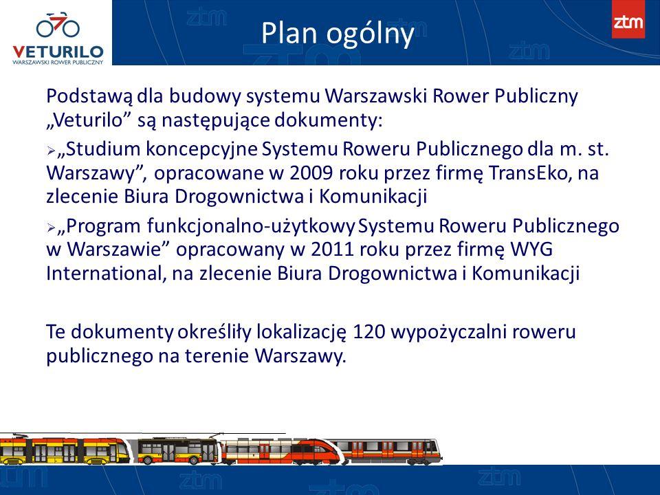 Plan ogólny Podstawą dla budowy systemu Warszawski Rower Publiczny Veturilo są następujące dokumenty: Studium koncepcyjne Systemu Roweru Publicznego d