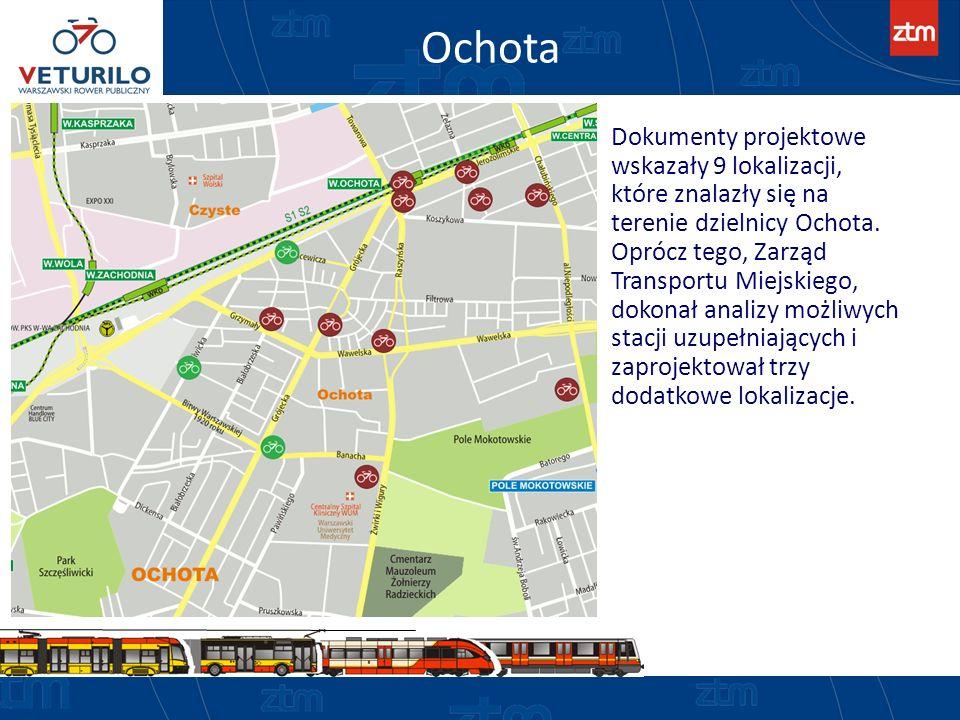 Ochota Dokumenty projektowe wskazały 9 lokalizacji, które znalazły się na terenie dzielnicy Ochota. Oprócz tego, Zarząd Transportu Miejskiego, dokonał