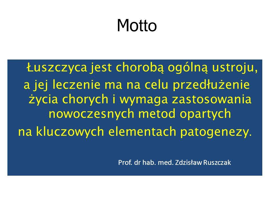 Mo tto Łuszczyca jest chorobą ogólną ustroju, a jej leczenie ma na celu przedłużenie życia chorych i wymaga zastosowania nowoczesnych metod opartych n