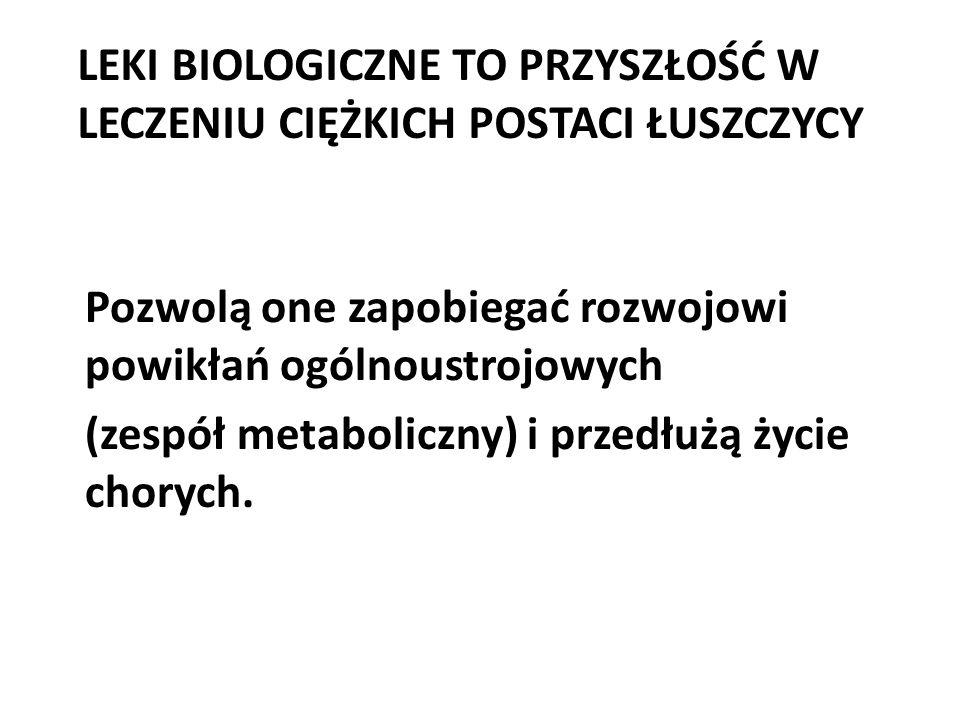 LEKI BIOLOGICZNE TO PRZYSZŁOŚĆ W LECZENIU CIĘŻKICH POSTACI ŁUSZCZYCY Pozwolą one zapobiegać rozwojowi powikłań ogólnoustrojowych (zespół metaboliczny)