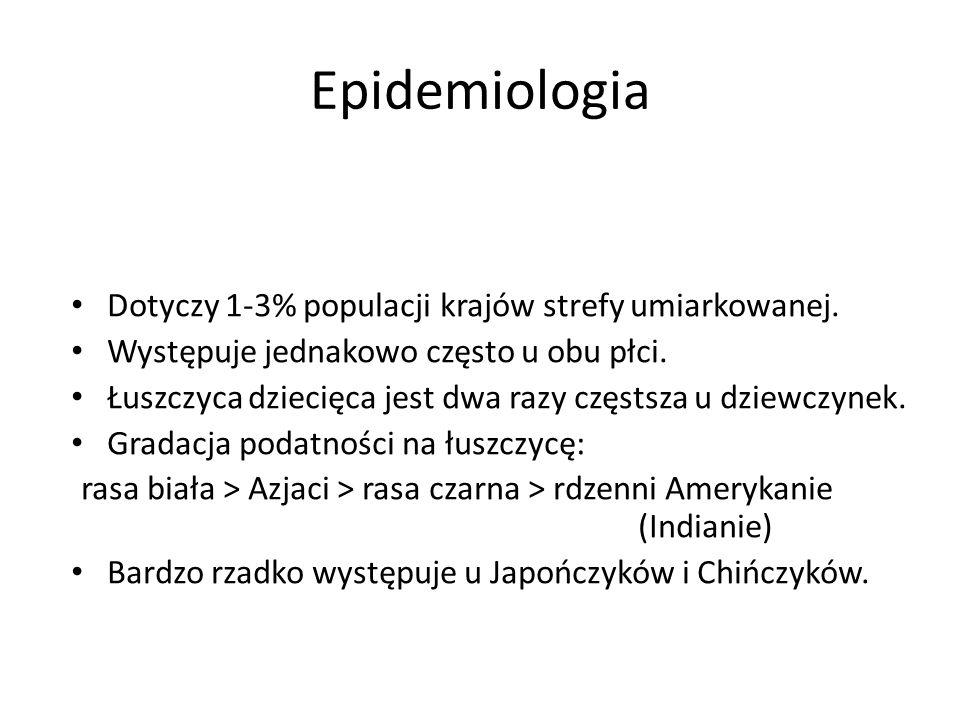 Epidemiologia Dotyczy 1-3% populacji krajów strefy umiarkowanej. Występuje jednakowo często u obu płci. Łuszczyca dziecięca jest dwa razy częstsza u d