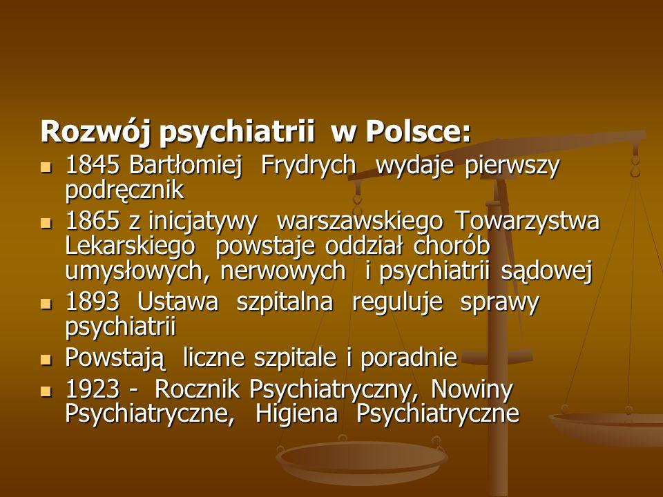 Rozwój psychiatrii w Polsce: 1845 Bartłomiej Frydrych wydaje pierwszy podręcznik 1845 Bartłomiej Frydrych wydaje pierwszy podręcznik 1865 z inicjatywy