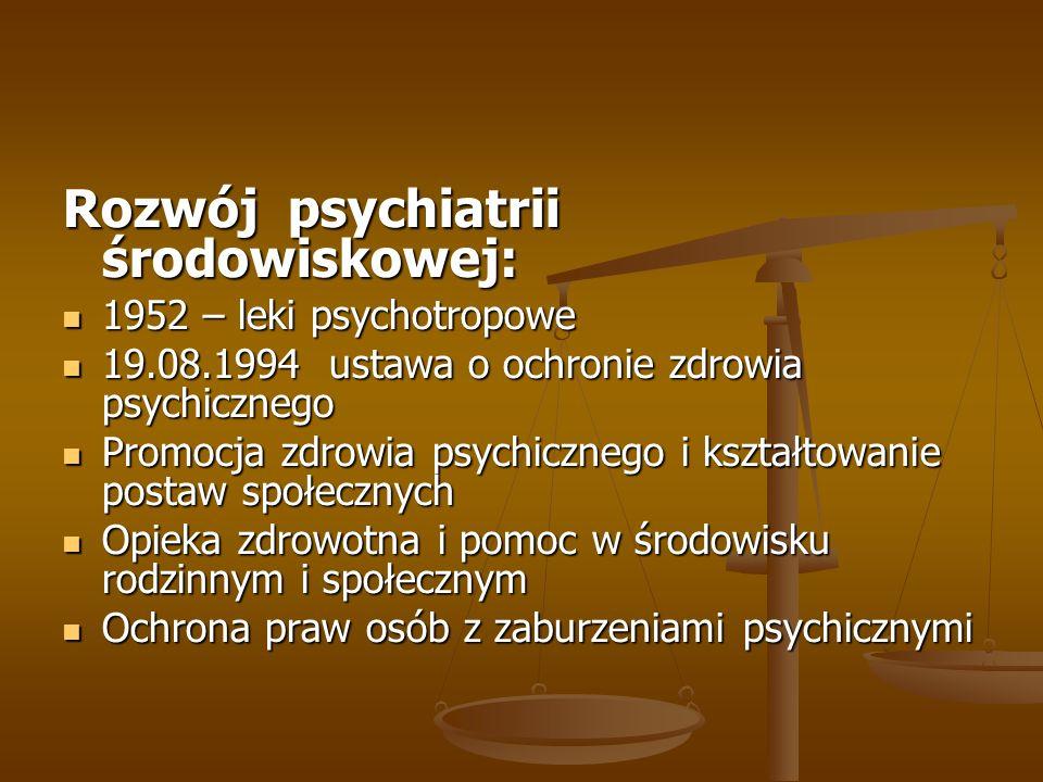 Rozwój psychiatrii środowiskowej: 1952 – leki psychotropowe 1952 – leki psychotropowe 19.08.1994 ustawa o ochronie zdrowia psychicznego 19.08.1994 ust