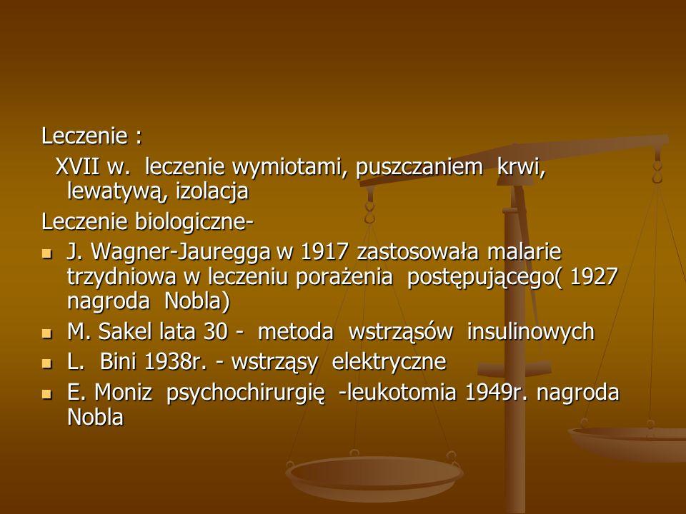 Rozwój psychiatrii w Polsce: 1845 Bartłomiej Frydrych wydaje pierwszy podręcznik 1845 Bartłomiej Frydrych wydaje pierwszy podręcznik 1865 z inicjatywy warszawskiego Towarzystwa Lekarskiego powstaje oddział chorób umysłowych, nerwowych i psychiatrii sądowej 1865 z inicjatywy warszawskiego Towarzystwa Lekarskiego powstaje oddział chorób umysłowych, nerwowych i psychiatrii sądowej 1893 Ustawa szpitalna reguluje sprawy psychiatrii 1893 Ustawa szpitalna reguluje sprawy psychiatrii Powstają liczne szpitale i poradnie Powstają liczne szpitale i poradnie 1923 - Rocznik Psychiatryczny, Nowiny Psychiatryczne, Higiena Psychiatryczne 1923 - Rocznik Psychiatryczny, Nowiny Psychiatryczne, Higiena Psychiatryczne