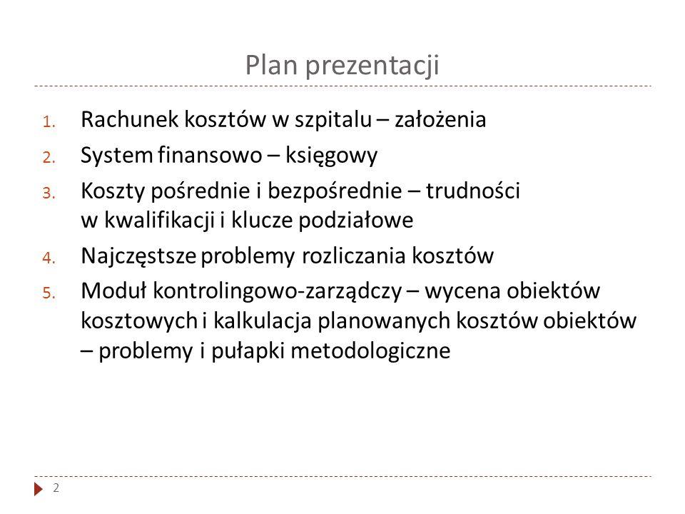 Plan prezentacji 2 1. Rachunek kosztów w szpitalu – założenia 2. System finansowo – księgowy 3. Koszty pośrednie i bezpośrednie – trudności w kwalifik