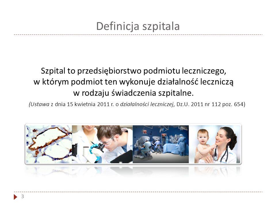 Definicja szpitala 3 Szpital to przedsiębiorstwo podmiotu leczniczego, w którym podmiot ten wykonuje działalność leczniczą w rodzaju świadczenia szpit
