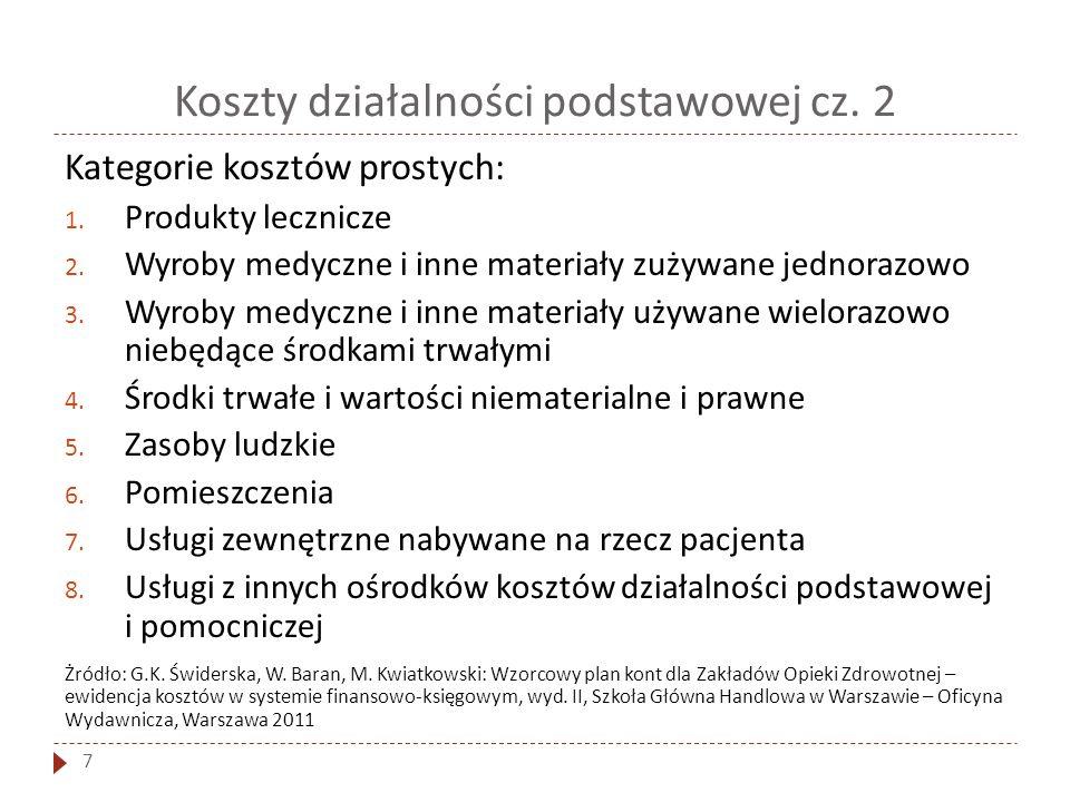 Koszty działalności podstawowej cz. 2 7 Kategorie kosztów prostych: 1. Produkty lecznicze 2. Wyroby medyczne i inne materiały zużywane jednorazowo 3.