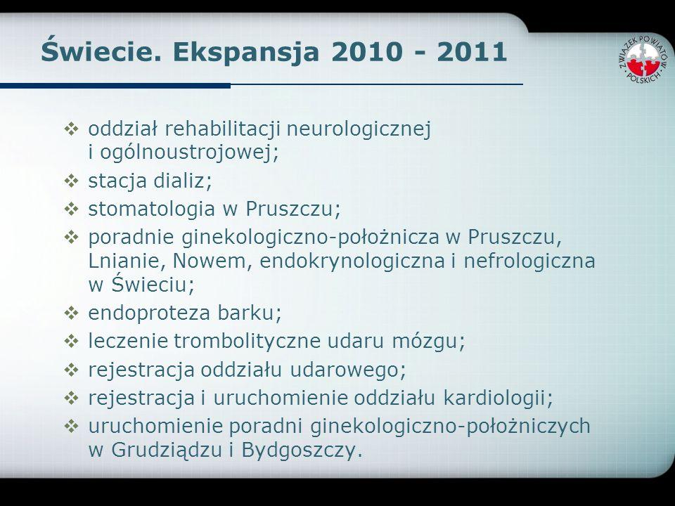 Świecie. Ekspansja 2010 - 2011 oddział rehabilitacji neurologicznej i ogólnoustrojowej; stacja dializ; stomatologia w Pruszczu; poradnie ginekologiczn