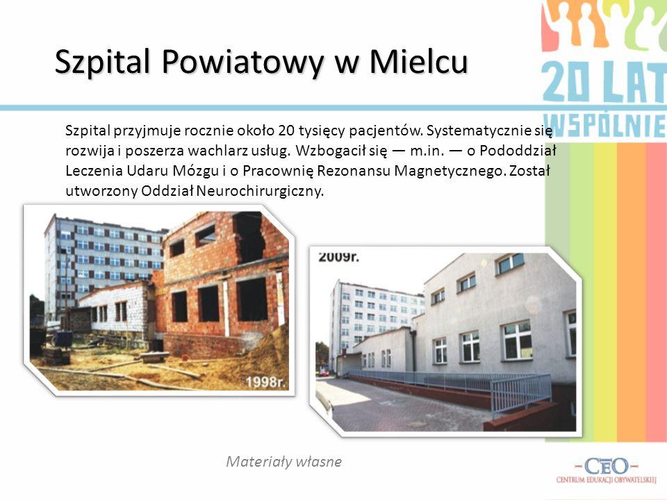 Szpital Powiatowy w Mielcu Materiały własne Szpital przyjmuje rocznie około 20 tysięcy pacjentów. Systematycznie się rozwija i poszerza wachlarz usług