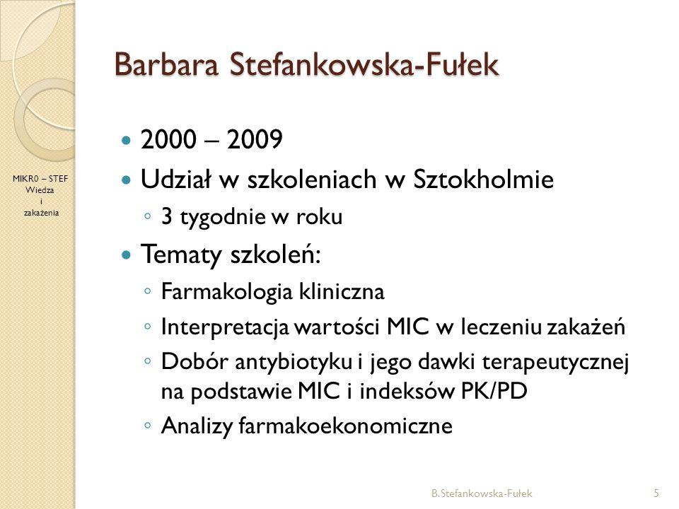 Barbara Stefankowska-Fułek B.Stefankowska-Fułek5 MIKR0 – STEF Wiedza i zakażenia 2000 – 2009 Udział w szkoleniach w Sztokholmie 3 tygodnie w roku Tema