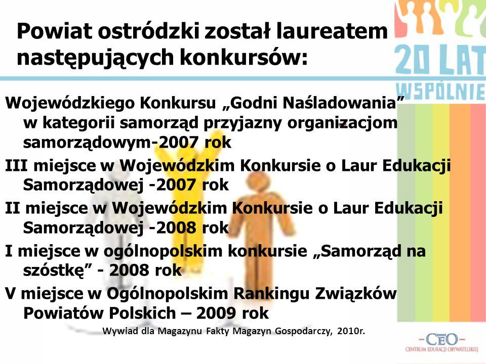 Powiat ostródzki został laureatem następujących konkursów: Wojewódzkiego Konkursu Godni Naśladowania w kategorii samorząd przyjazny organizacjom samor