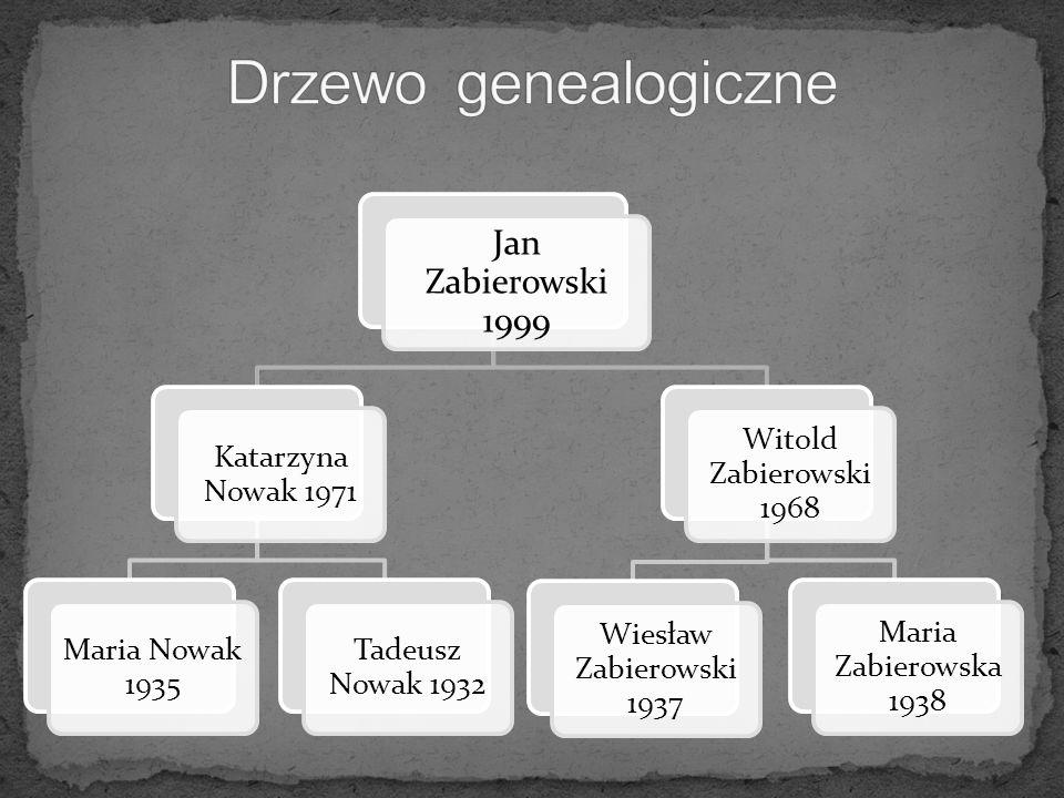 Jan Zabierowski 1999 Katarzyna Nowak 1971 Maria Nowak 1935 Tadeusz Nowak 1932 Witold Zabierowski 1968 Wiesław Zabierowski 1937 Maria Zabierowska 1938