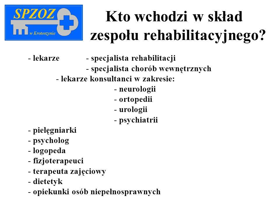 Kto wchodzi w skład zespołu rehabilitacyjnego? - lekarze - specjalista rehabilitacji - specjalista chorób wewnętrznych - lekarze konsultanci w zakresi