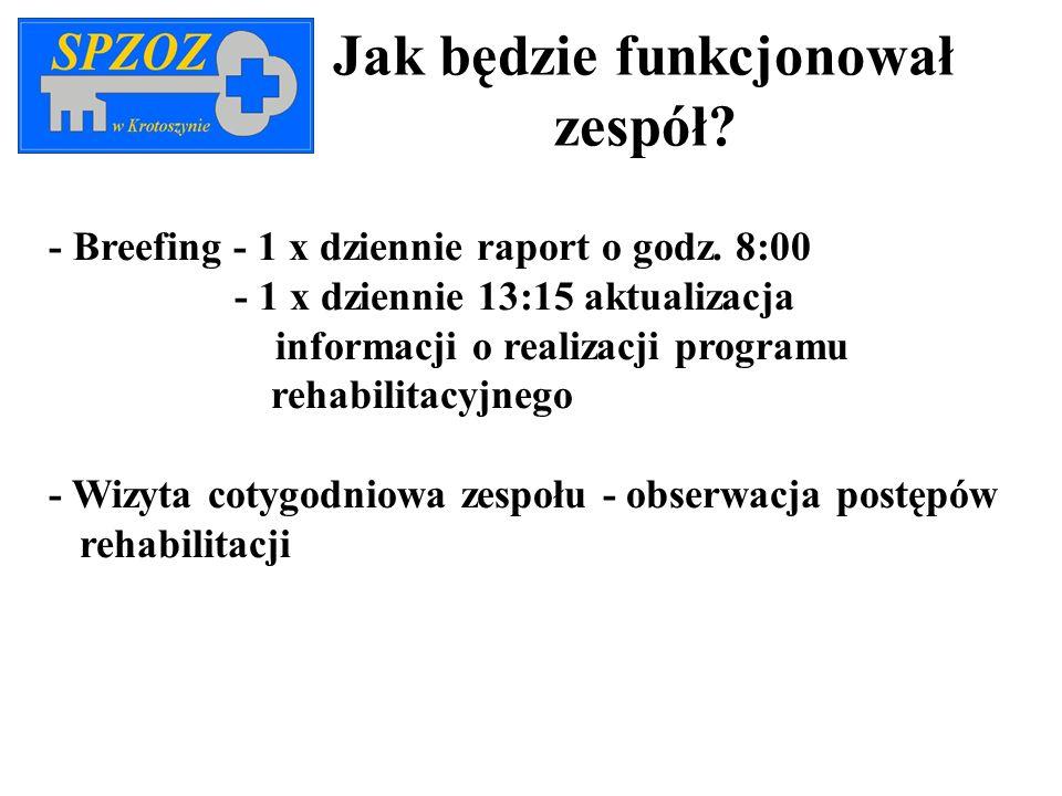 Jak będzie funkcjonował zespół? - Breefing - 1 x dziennie raport o godz. 8:00 - 1 x dziennie 13:15 aktualizacja informacji o realizacji programu rehab