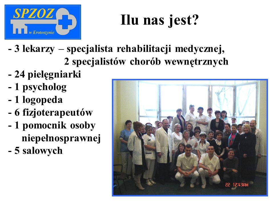 - 3 lekarzy – specjalista rehabilitacji medycznej, 2 specjalistów chorób wewnętrznych - 24 pielęgniarki - 1 psycholog - 1 logopeda - 6 fizjoterapeutów