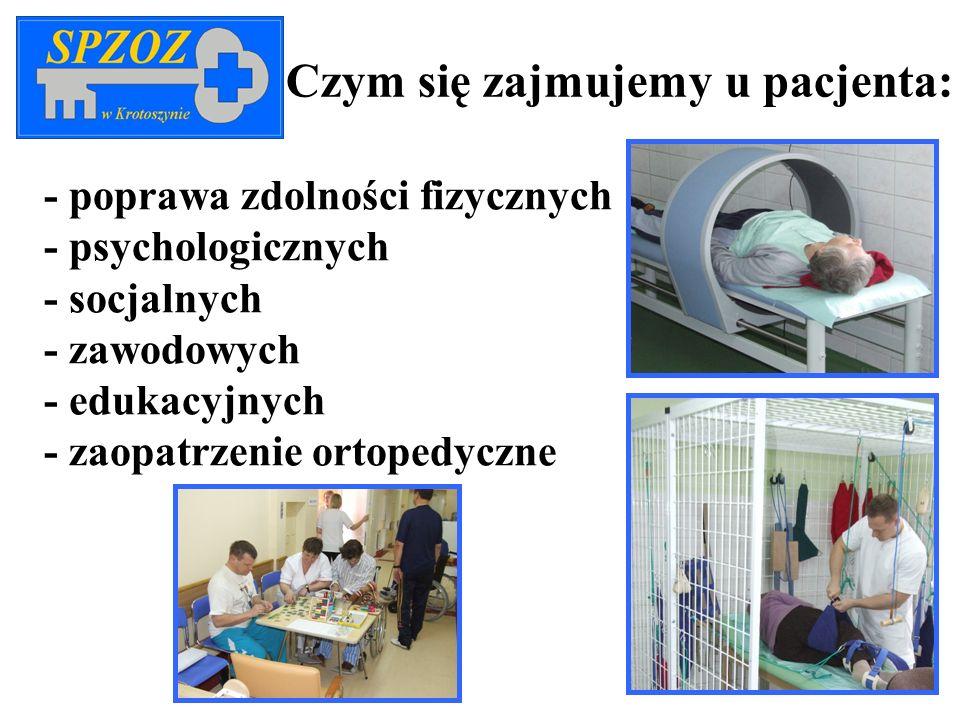 Czym się zajmujemy u pacjenta: - poprawa zdolności fizycznych - psychologicznych - socjalnych - zawodowych - edukacyjnych - zaopatrzenie ortopedyczne