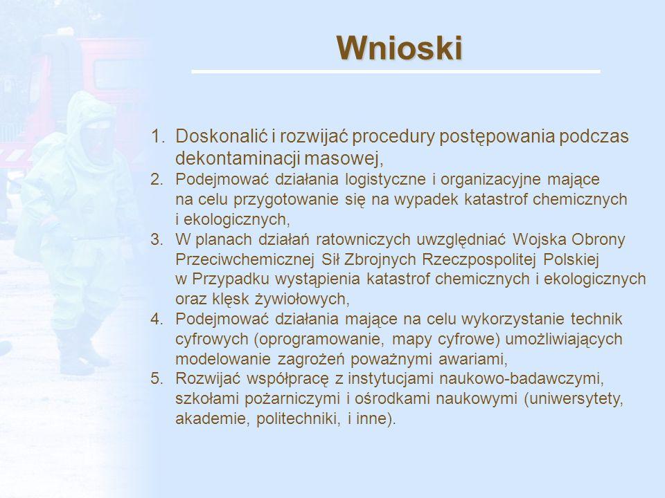 Wnioski 1.Doskonalić i rozwijać procedury postępowania podczas dekontaminacji masowej, 2.Podejmować działania logistyczne i organizacyjne mające na celu przygotowanie się na wypadek katastrof chemicznych i ekologicznych, 3.W planach działań ratowniczych uwzględniać Wojska Obrony Przeciwchemicznej Sił Zbrojnych Rzeczpospolitej Polskiej w Przypadku wystąpienia katastrof chemicznych i ekologicznych oraz klęsk żywiołowych, 4.Podejmować działania mające na celu wykorzystanie technik cyfrowych (oprogramowanie, mapy cyfrowe) umożliwiających modelowanie zagrożeń poważnymi awariami, 5.Rozwijać współpracę z instytucjami naukowo-badawczymi, szkołami pożarniczymi i ośrodkami naukowymi (uniwersytety, akademie, politechniki, i inne).