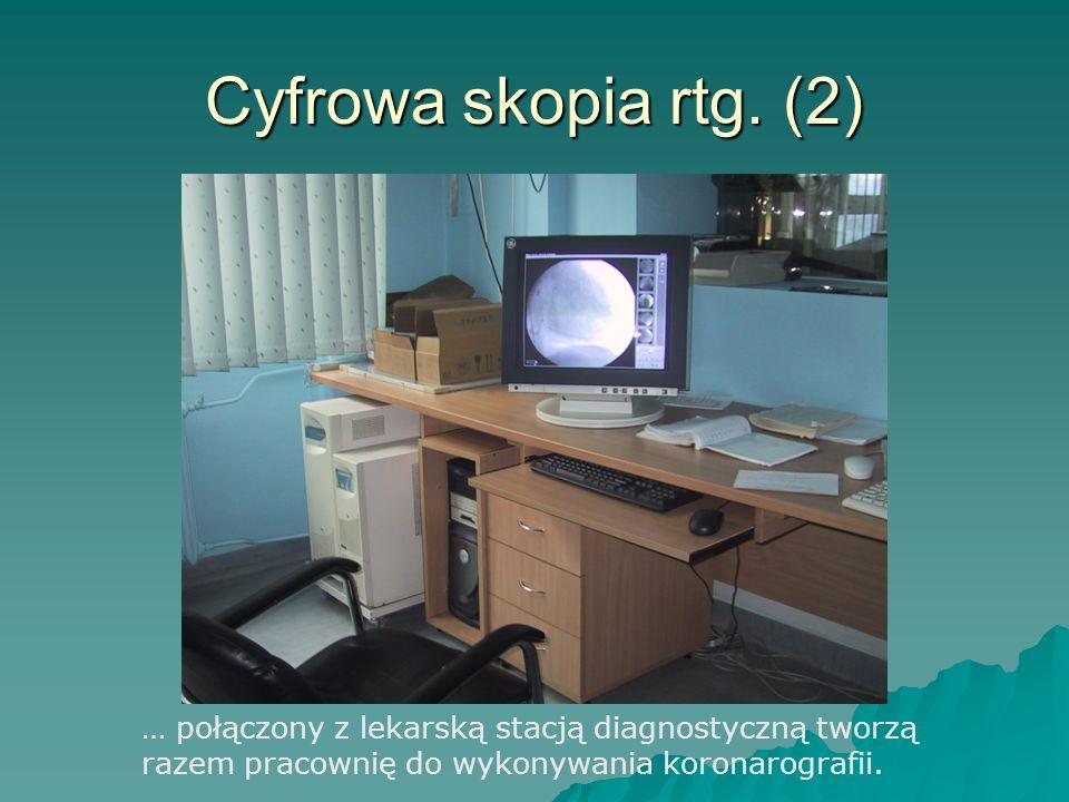 Cyfrowa skopia rtg. (2) … połączony z lekarską stacją diagnostyczną tworzą razem pracownię do wykonywania koronarografii.