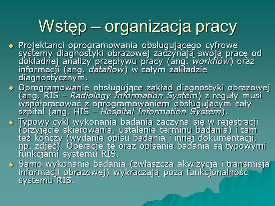 Wstęp – organizacja pracy Projektanci oprogramowania obsługującego cyfrowe systemy diagnostyki obrazowej zaczynają swoją pracę od dokładnej analizy pr