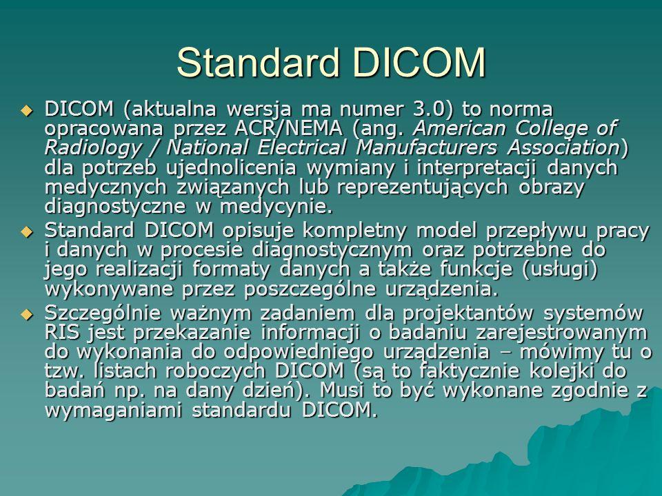 REJESTRACJA SYSTEM KT SYSTEM MR SYSTEM RIS Listy robocze DICOM Dane pacjenta, Rodzaj badania, Termin, … … STACJA LEKARSKA STACJA LEKARSKA ARCHIWUM (PACS) Dane obrazowe DICOM NAŚWIETLARKA NAGRYWARKA CD Status badania, Opis Standard DICOM a RIS / HIS SYSTEM HIS Skierowanie Status badania, Opis Dane obrazowe DICOM Dane obrazowe DICOM