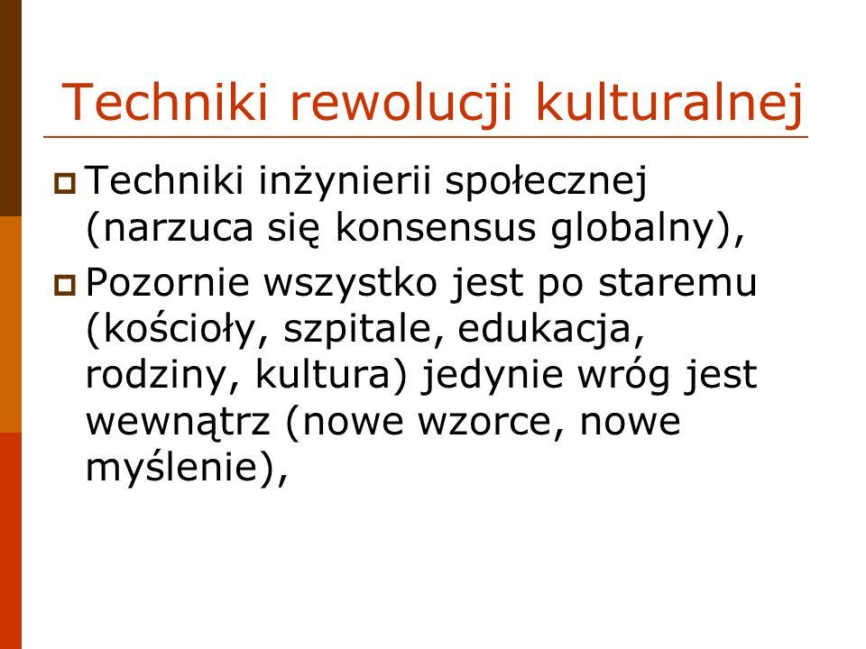 Techniki rewolucji kulturalnej Techniki inżynierii społecznej (narzuca się konsensus globalny), Pozornie wszystko jest po staremu (kościoły, szpitale, edukacja, rodziny, kultura) jedynie wróg jest wewnątrz (nowe wzorce, nowe myślenie),