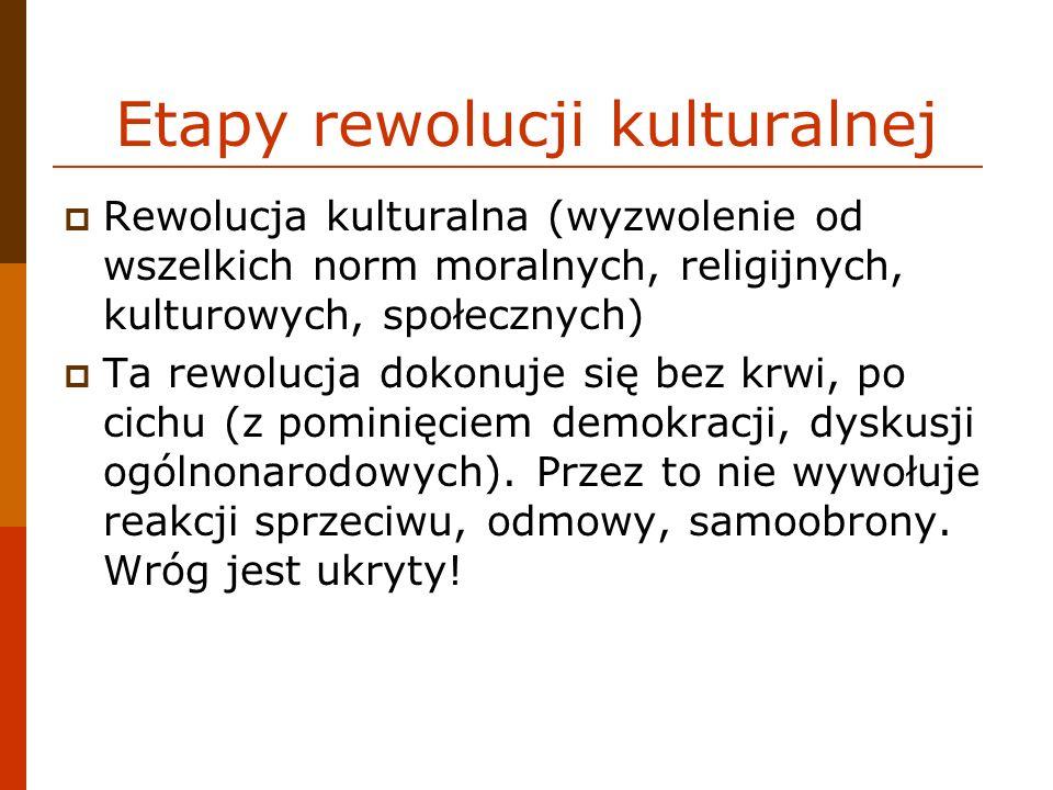 Etapy rewolucji kulturalnej Rewolucja kulturalna (wyzwolenie od wszelkich norm moralnych, religijnych, kulturowych, społecznych) Ta rewolucja dokonuje
