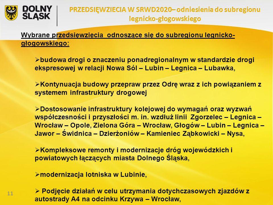 11 Wybrane przedsięwzięcia odnoszące się do subregionu legnicko- głogowskiego: budowa drogi o znaczeniu ponadregionalnym w standardzie drogi ekspresow