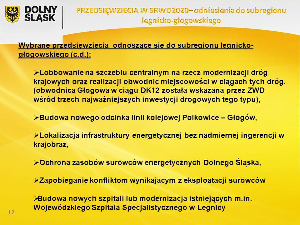 12 Wybrane przedsięwzięcia odnoszące się do subregionu legnicko- głogowskiego (c.d.): Lobbowanie na szczeblu centralnym na rzecz modernizacji dróg kra