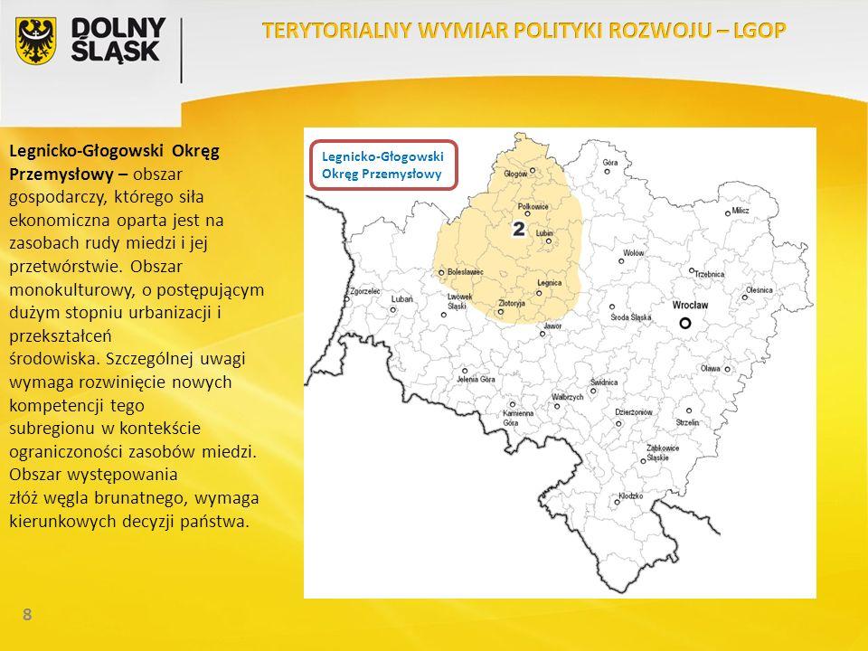 8 Legnicko-Głogowski Okręg Przemysłowy – obszar gospodarczy, którego siła ekonomiczna oparta jest na zasobach rudy miedzi i jej przetwórstwie. Obszar