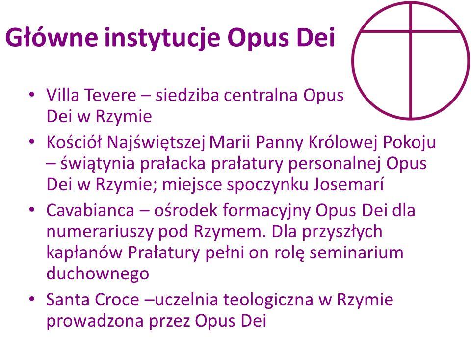 Główne instytucje Opus Dei Villa Tevere – siedziba centralna Opus Dei w Rzymie Kościół Najświętszej Marii Panny Królowej Pokoju – świątynia prałacka p