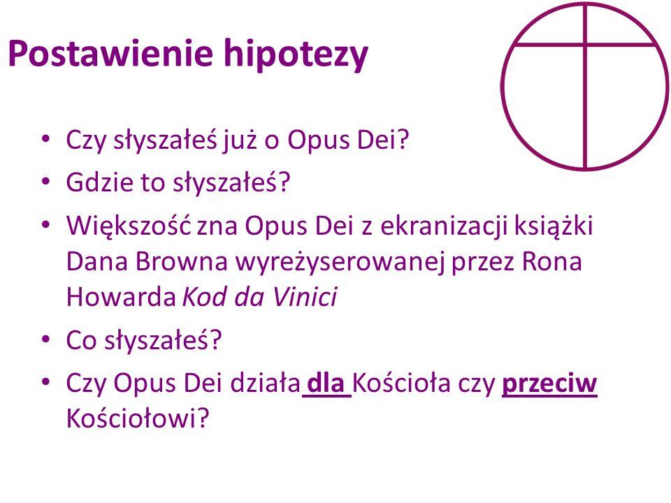 Postawienie hipotezy Czy słyszałeś już o Opus Dei? Gdzie to słyszałeś? Większość zna Opus Dei z ekranizacji książki Dana Browna wyreżyserowanej przez