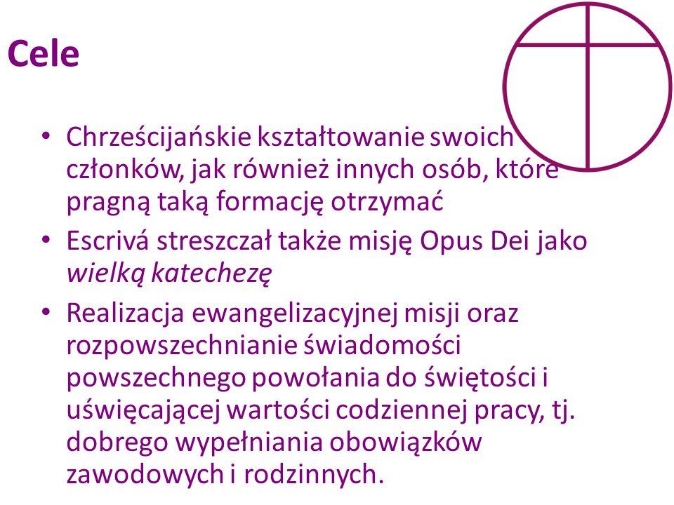 Cele Chrześcijańskie kształtowanie swoich członków, jak również innych osób, które pragną taką formację otrzymać Escrivá streszczał także misję Opus D