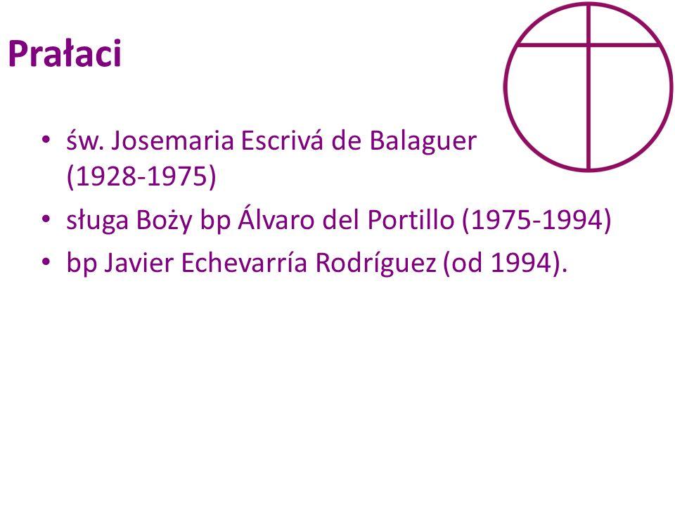Prałaci św. Josemaria Escrivá de Balaguer (1928-1975) sługa Boży bp Álvaro del Portillo (1975-1994) bp Javier Echevarría Rodríguez (od 1994).