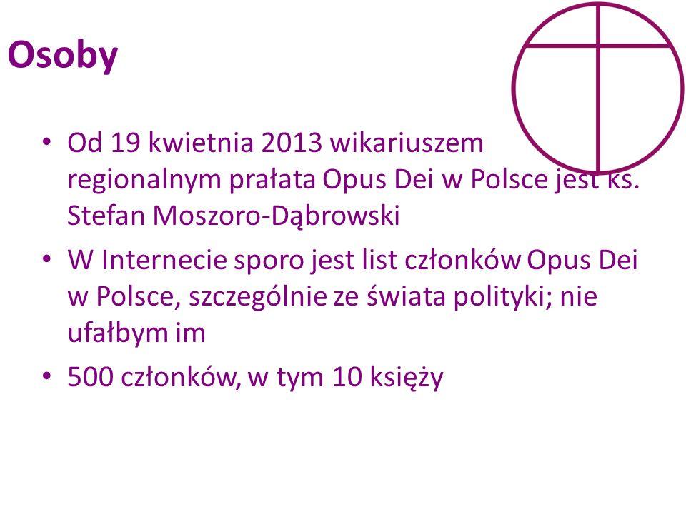 Osoby Od 19 kwietnia 2013 wikariuszem regionalnym prałata Opus Dei w Polsce jest ks. Stefan Moszoro-Dąbrowski W Internecie sporo jest list członków Op